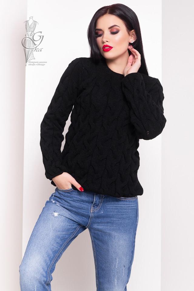 Черный цвет Зимних теплых свитеров Роксана