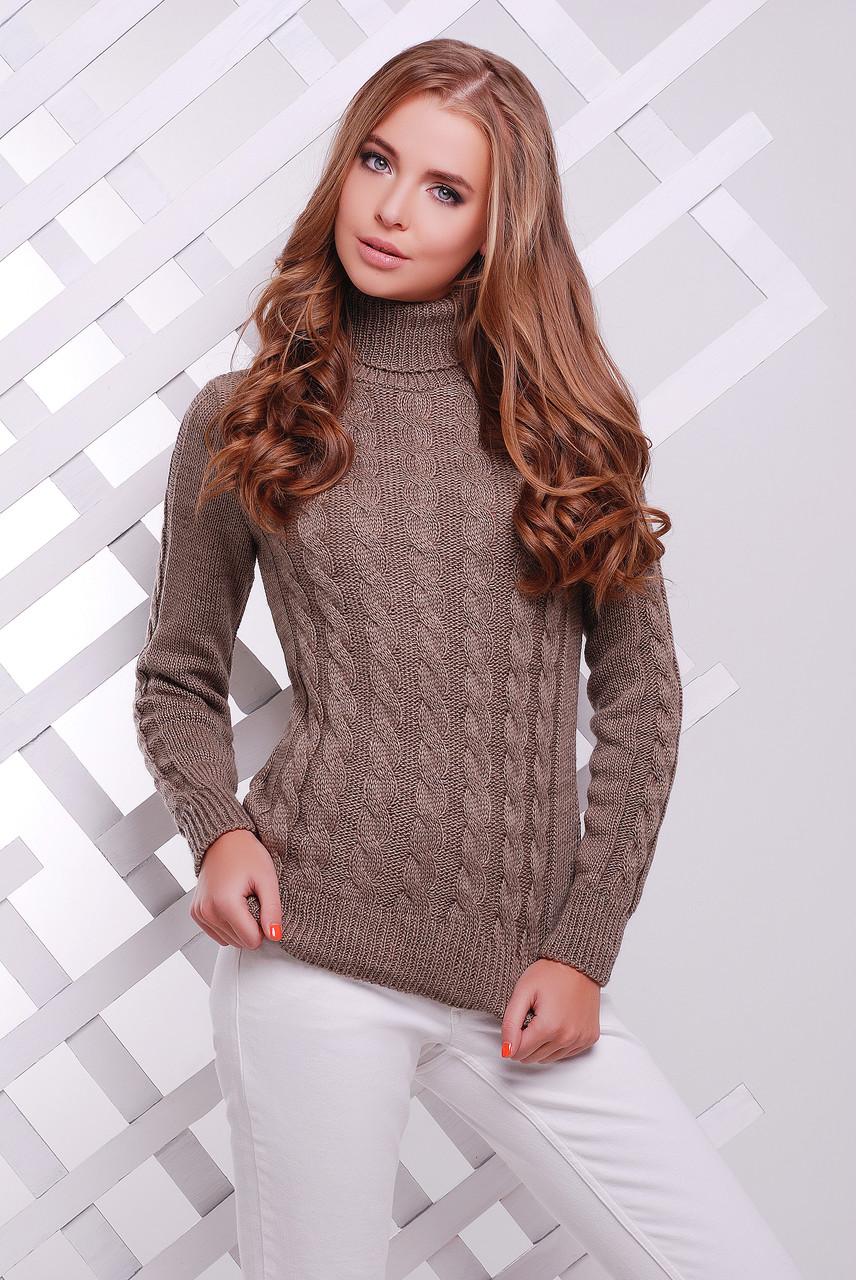 Вязаный женский свитер под горло цвета кофе