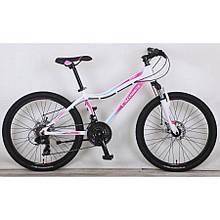 """Подростковый горный велосипед CROSSER SWEET  24""""  Белый/розовый"""