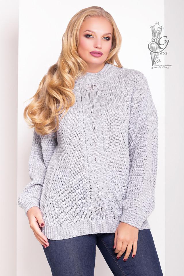 Цвет светло-серый Зимних теплых свитеров Паффи