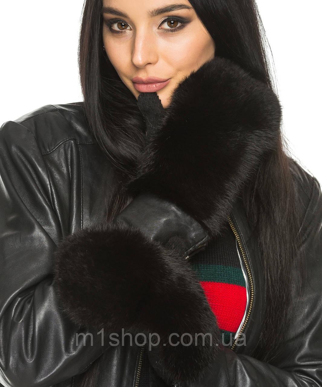 Женские варежки с натуральным мехом(9477 br) черный