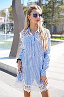 Женское платье-рубашка с кружевами, фото 1