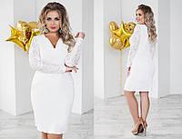 Платье (48,50,52,54) —крепдайвинг+гипюр от компании Discounter.top