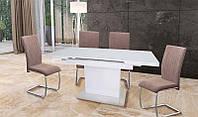 Стол раскладной ТМ-60 вставка белое стекло, столешница белое стекло, механизм - автомат 120-160х80х76Н