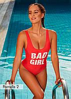 Cлитный польский купальник Madora Pamela красный.