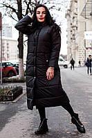 Зимнее длинное плащевое пальто на кнопках в расцветках 14PA45