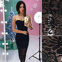 Облегающее платье без бретель с кружевным низом 66PL532