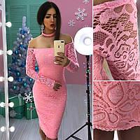 Гипюровое платье с открытыми плечами и чокером 66PL533
