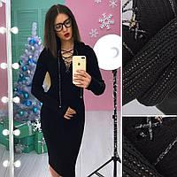 Вязаное платье со шнуровкой на груди и длинным рукавом 66PL553