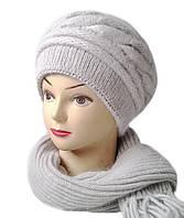 Комплект шапка и шарф женский вязаный Carina шерсть с ангорой серого  цвета