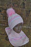 Зимний комплект для девочки. Вязаная шапка + манишка на флисе. Польша TuTu