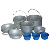 Набор посуды из алюминия; котелок 2,9 л, котелок 1,9 л, котелок 1,2 л, пластмассовые кружки 3 шт