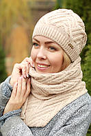 Комплект шапка и шарф шерстяной бежевый
