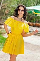 Женское летнее платье-рюша c открытыми плечами, фото 1