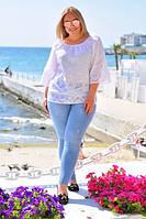 Женская блузка из хлопка с прорезной вышивкой БАТАЛ, фото 1