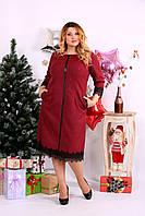 Женское Удобное бордовое платье, очень стройнит   0656-3 (42-74)