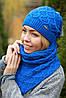 Комплект шапка и шарф шерстяной черный, фото 10