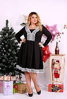 Приталенное платье с кружевом 0658 черное