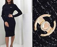 Вязаное платье Ксюша вязаный трикотаж 42-48р черный меланж
