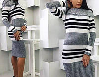 Вязаное платье Варвара вязаный трикотаж 42-48р серый