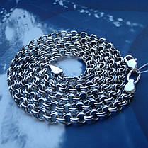 Серебряная цепочка, 600мм, 17 грамм, плетение Бисмарк, чернение, фото 3