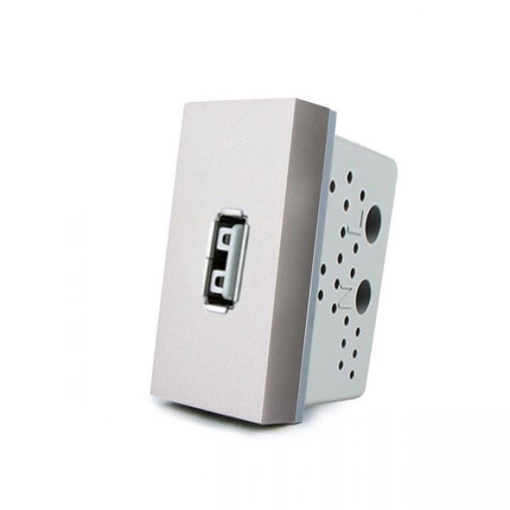 Розетка USB Livolo с блоком питания 2.1А, 5V, цвет серый (VL-C7-1USB-15)