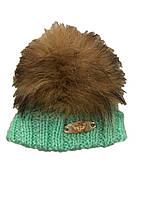 Вязаная шапка  -Зеленый -Размер- S