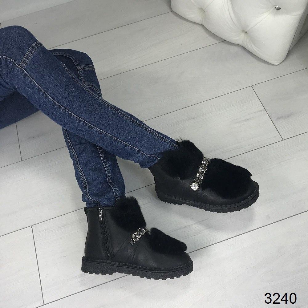 Зимние женские ботинки эко - кожа + мех