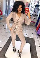 Костюм НОРМА ( двойка )  Пиджак с поясом и карманами, брюки на манжетах с карманами.Модель 1027  (ИНГ)