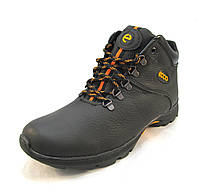 Ботинки  мужские с мехом  ECCO кожаные черно-коричневые (р.44)