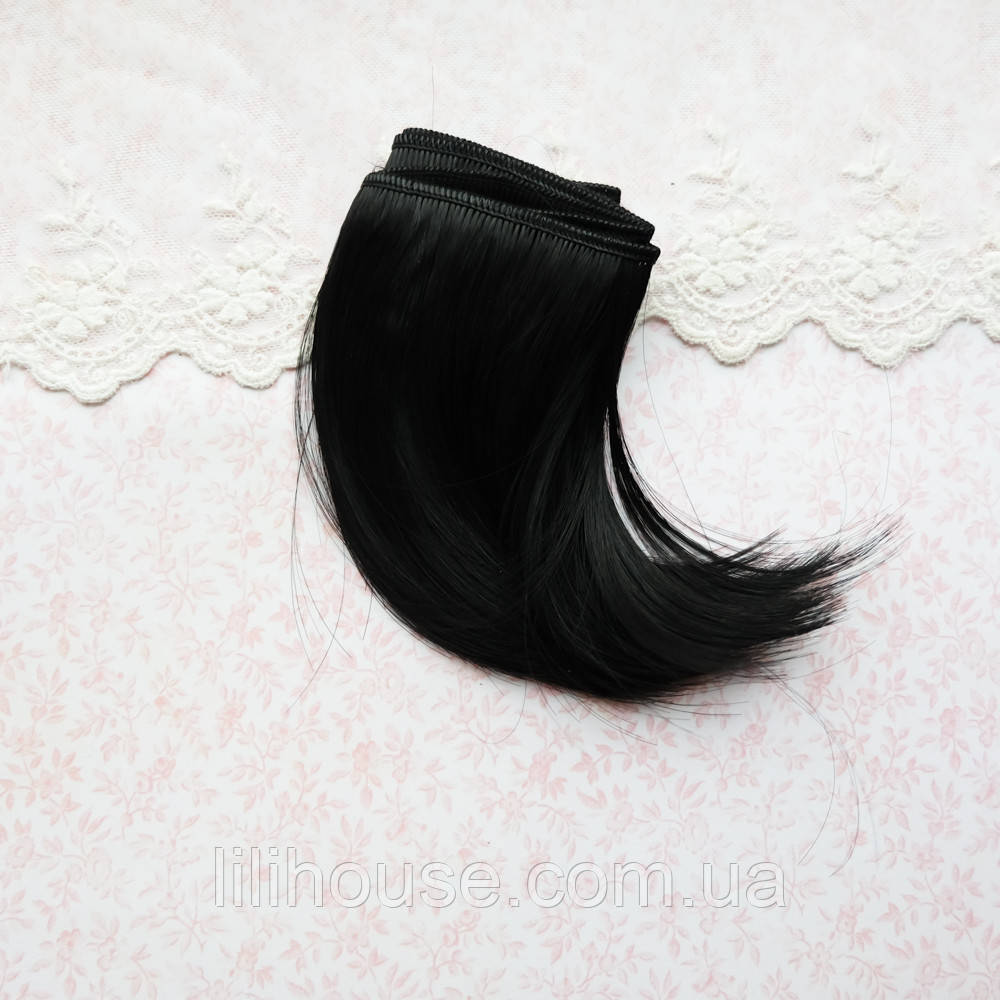 Волосы для кукол прямые боб в трессах, холодный черный - 10 см