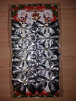 Набор бантиков для декора (12 шт.) - серебро