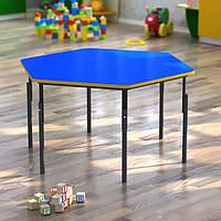 Стол детский шестигранный, регулируемый по высоте ЛДСП цвет, 1040х900
