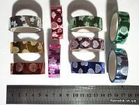 Скотч декоративный металлизированный, 15 мм х 3 м., микс, 10 рулонов