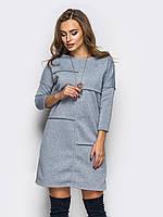 Светло-серое утепленное платье на флисе
