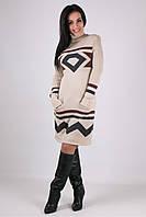 Платье вязанное Диамант - песочный/графит/шоколад: 44-48