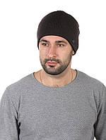 Шапка вязаная мужская коричневая с ремешком