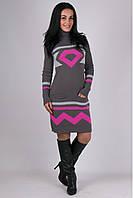 Платье вязанное Диамант - графит/малина: 44-48