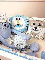 """Комплект постельного белья для мальчика """"Лёвушка и друзья"""" 8-мь бортиков + простынка"""