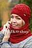 Комплект шапка и шарф шерстяной красный