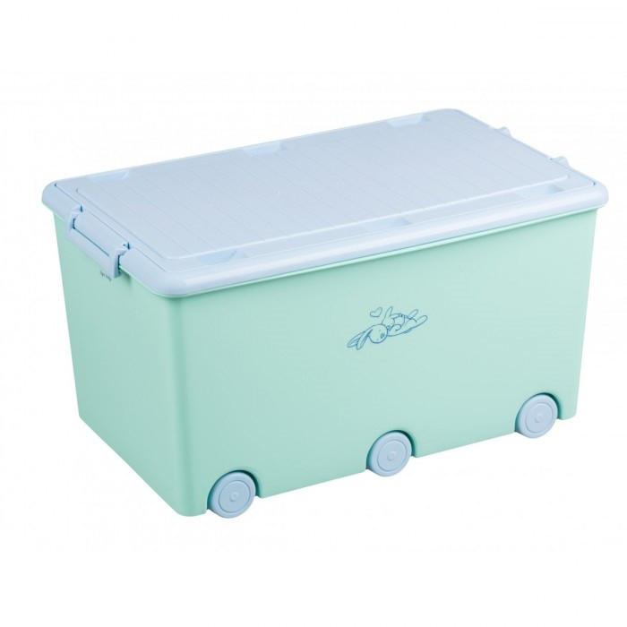 Ящик для игрушек с колесами Tega Rabbits KR-010 (бирюзовый/голубой)