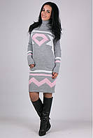 Платье вязанное Диамант - св.серый/розовый: 44-48