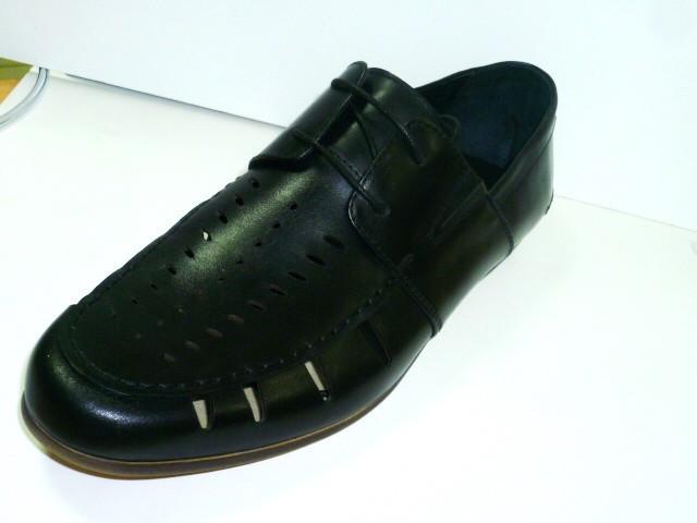 Туфли лоферы мужские летние Welfare черные, кожаные