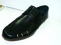 Туфли лоферы мужские летние Welfare черные, кожаные, фото 1