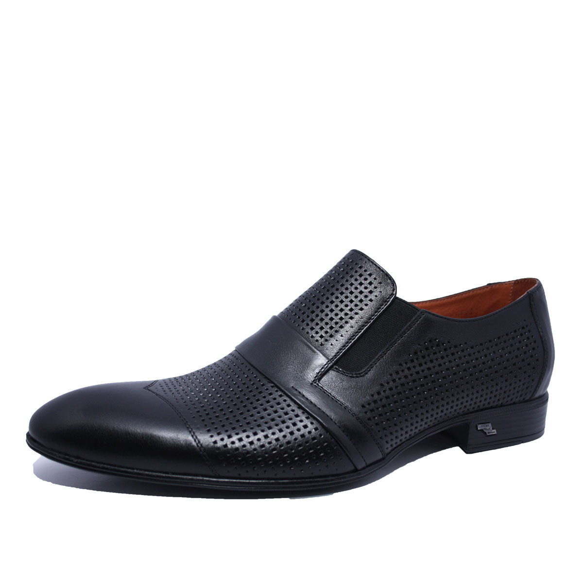 Летние мужские туфли кожаные черные на резинке Iкос