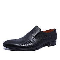 Летние мужские туфли кожаные черные на резинке Iкос, фото 1