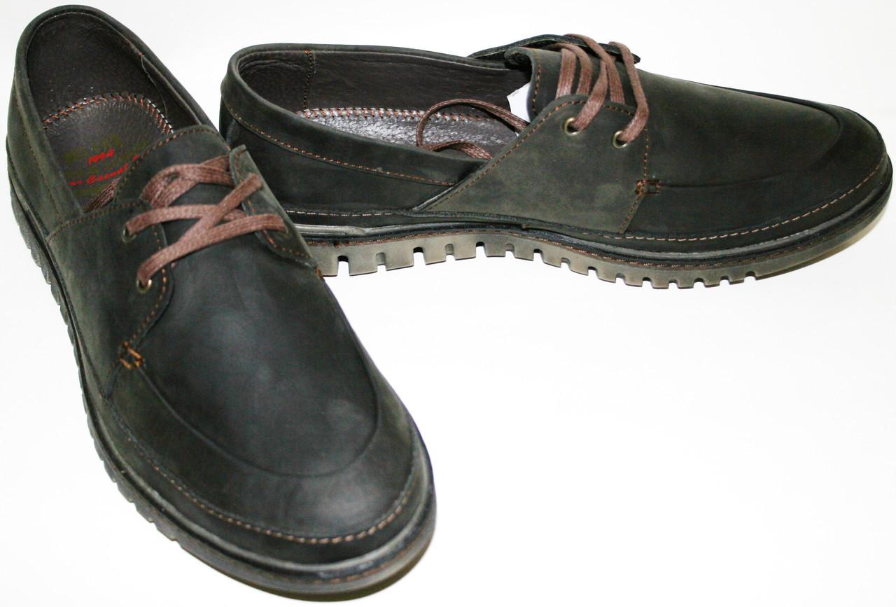 Туфли мужские демисезонные из нубука коричневые Belvas. Стиль комфорт.