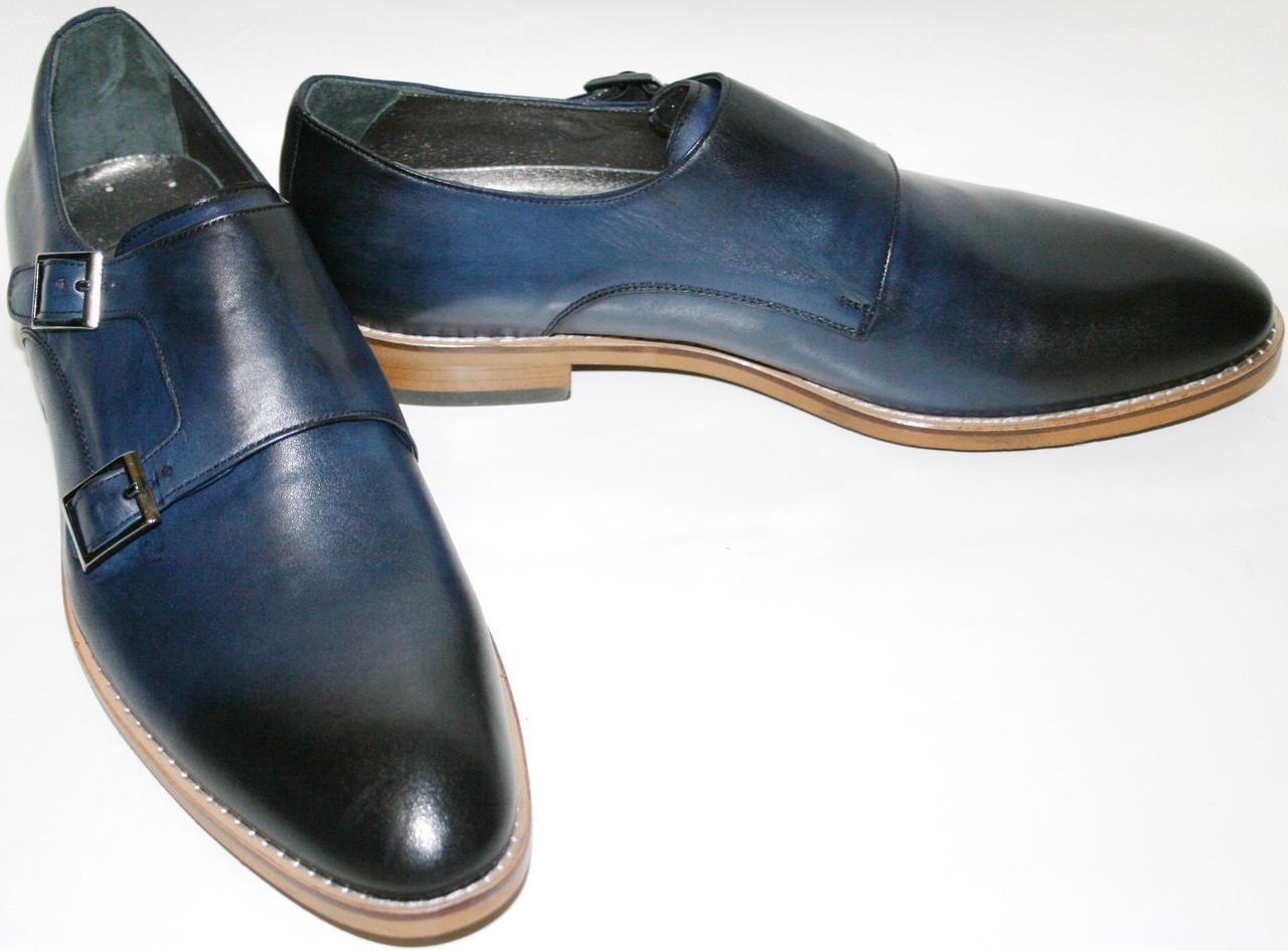 Мужские туфли монки кожаные Luciano Bellini классические, синие, весна/осень