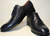 Туфли дерби мужские классические, кожаные Икос пепельно синие, фото 1