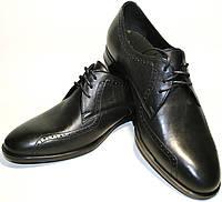 Туфли дерби мужские броги кожаные, черные Икос демисезонные, фото 1